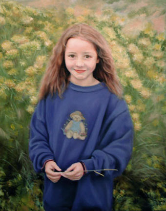 Among the Chamisa, an oil painting of a little girl in a patch of chamisa flowers