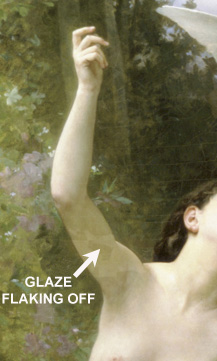 Detail of Love Takes Flight painting by Bouguereau