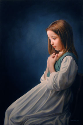 Contemplation, an oil painting by Thomas Baker of a young girl sitting in a chair daydreaming