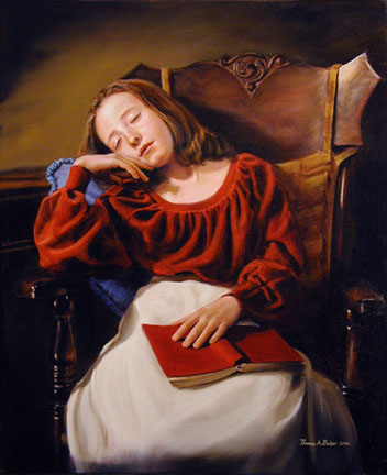 An oil painting of a little girl asleep in a chair with a book in her lap entitled Dull Reading