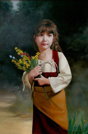 First Bouquet, an oil painting of a little girl in a meadow with an armful of flowers