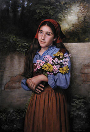 Gifts of the Garden, an oil painting of a little girl in a white Victorian dress and hat