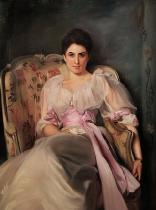 Lady Agnew of Lochnaw, an oil painting by John Singer Sargent, reproduced by Thomas Baker