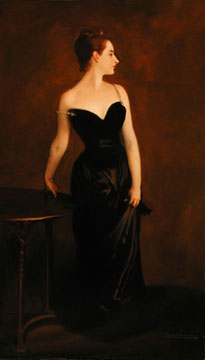 Madame X, an oil painting by John Singer Sargent, reproduced by Thomas Baker