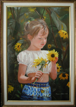 An oil painting on canvas of Mary Kathleen Baker in a patch of sunflowers
