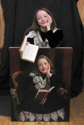 Mary Baker with a painting of herself