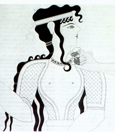Minoan woman in black and white