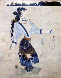 Minoan woman bearing a necklace in wall mural