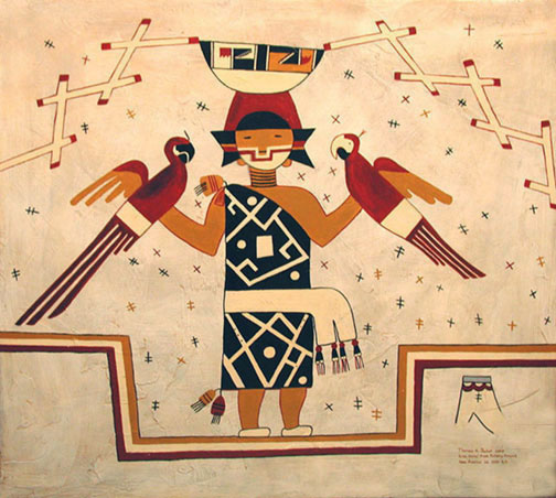 The Parrot Girl of Pottery Mound, a reproduction of an ancient kiva painting by Thomas Baker