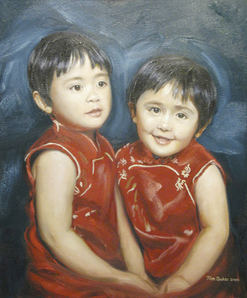 Twins, an oil painting by Thomas Baker