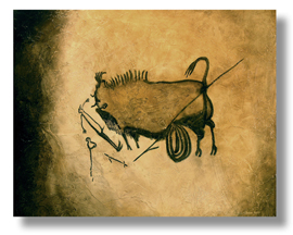 Bison of Lascaux reproduction