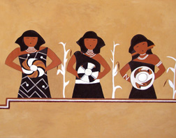 Singing Maidens, a Pottery Mound mural reproduced by Thomas Baker