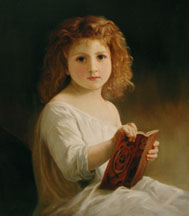 Storybook, an oil painting by William Adolphe Bouguereau, reproduced by Thomas Baker