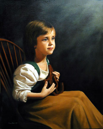The Gift, an oil painting of a young girl holding a toy wooden horse