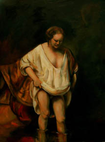 Wading Woman, an oil painting by Rembrandt, reproduced by Thomas Baker